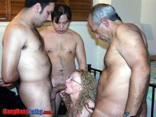 Creampie Cathy takes gang of cocks