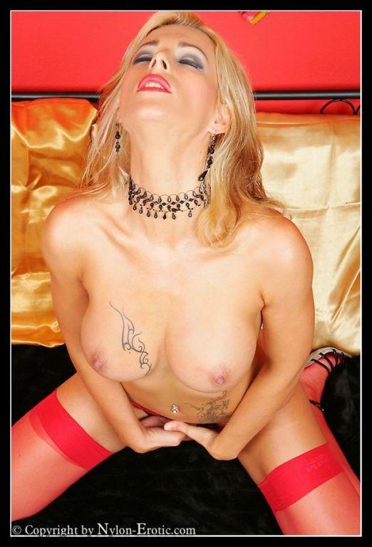 German blonde in hot red lingerie