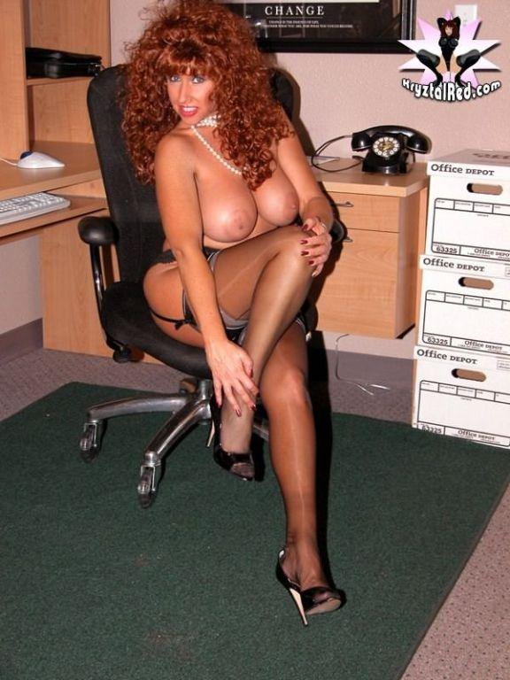 Busty stocking secretary Kryztal Red