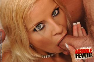 Busty blond Lucy gets assfuck and DP by three guys