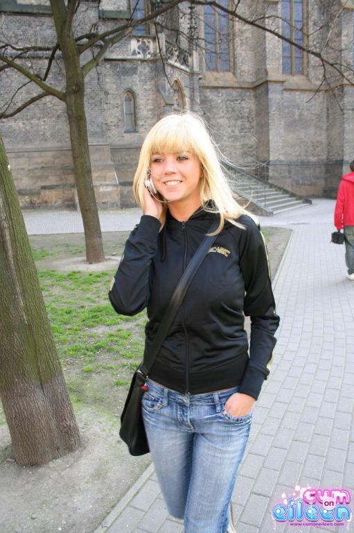 Busty blonde in public