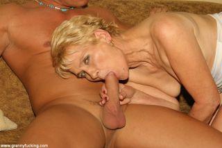 Blonde granny sucks cock
