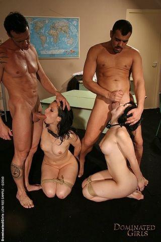Jasmin and Katy bound bdsm girls spanked and fucke