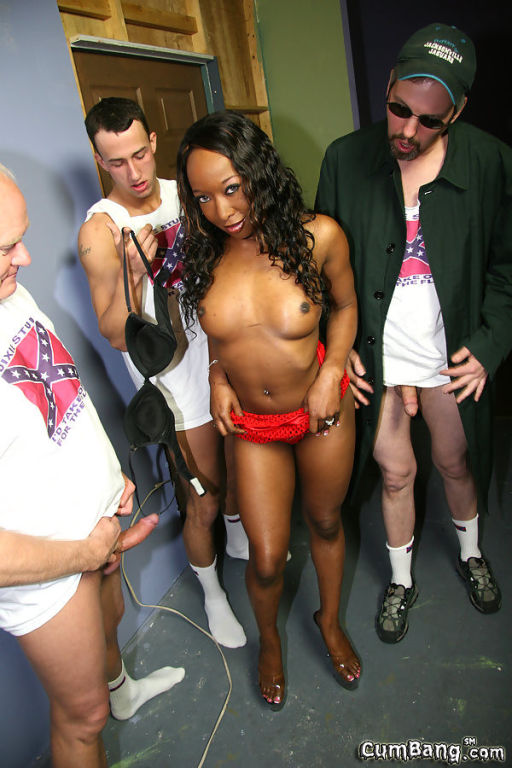 Busty ebony Stacey Cash gets bukkaked by ten racis