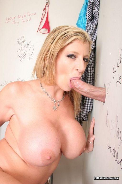 Busty blonde Sara Jay sucking huge cock gloryhole