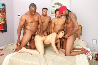 Nasty ebony whore hardcore gangbang sex and bukkak
