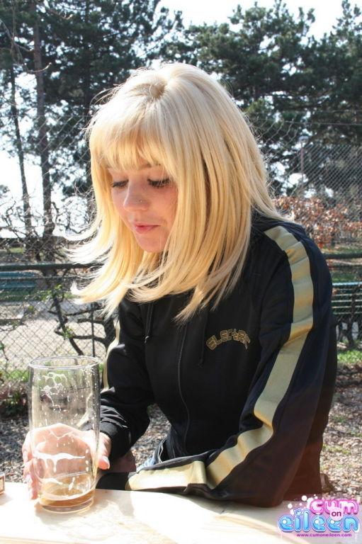 Busty blonde outside