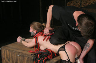 Stocking Natali Demore rope hogtied her pussy vibe