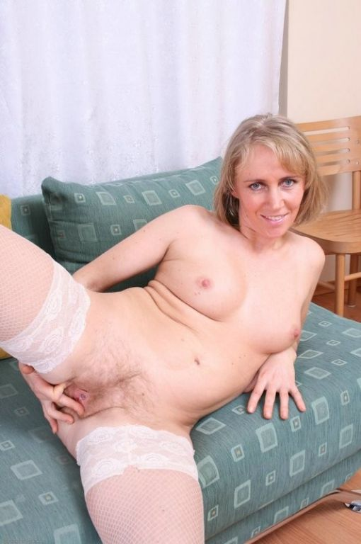 blonde mom Susan spreads her nylon clad legs open