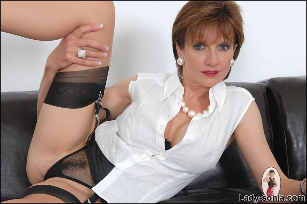 Mature nude ladies in black nylons