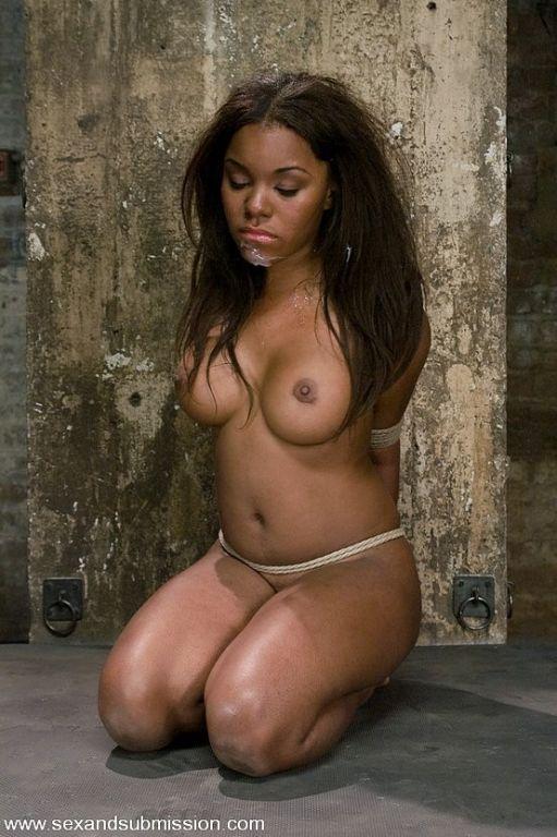 Ebony Candice Nicole in rope bondage deepthroats w