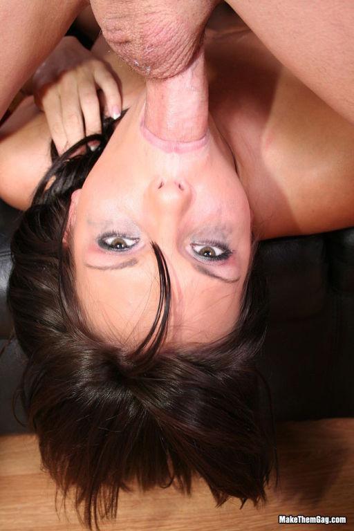 Brunette gives deepthroat blowjob