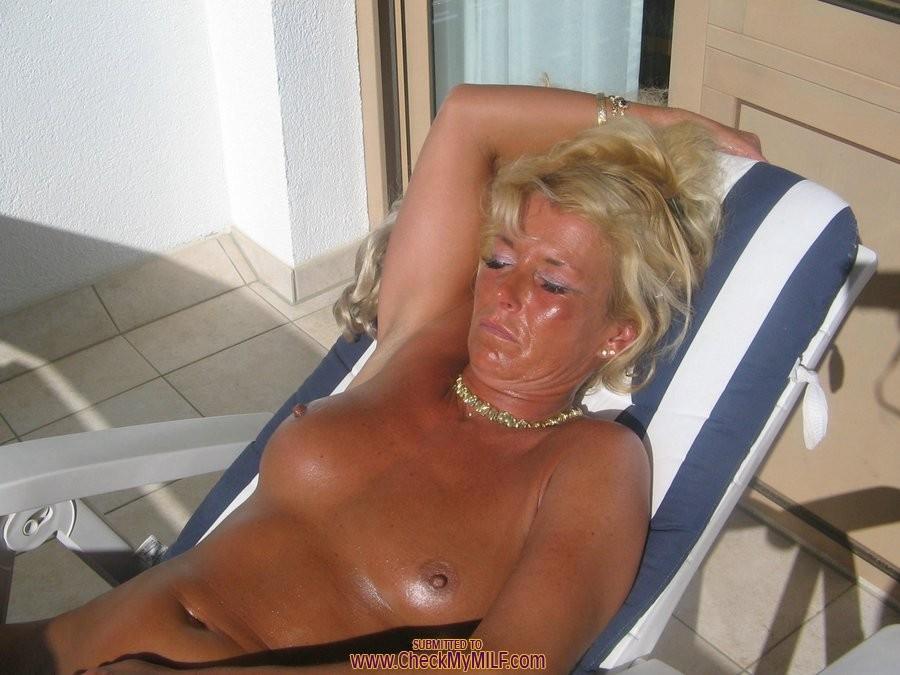 Amateur blonde granny right