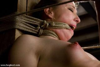 Innocent brunette gaged Alyssa rope bound in diffe