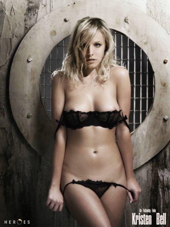 Kirsten Bell sucks three big black cocks