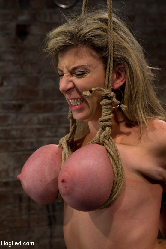 Big tits self bondage