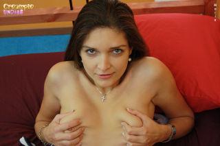 Amateur eats her creampie panties
