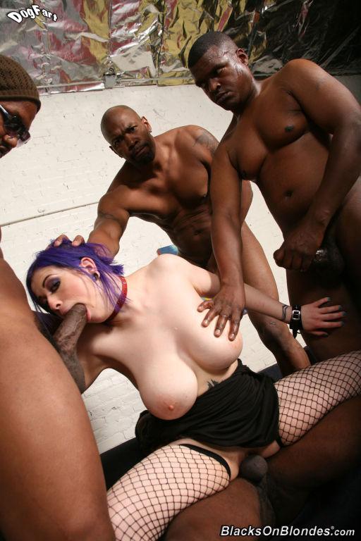 White whore Larkin Love gets gangbanged by blacks