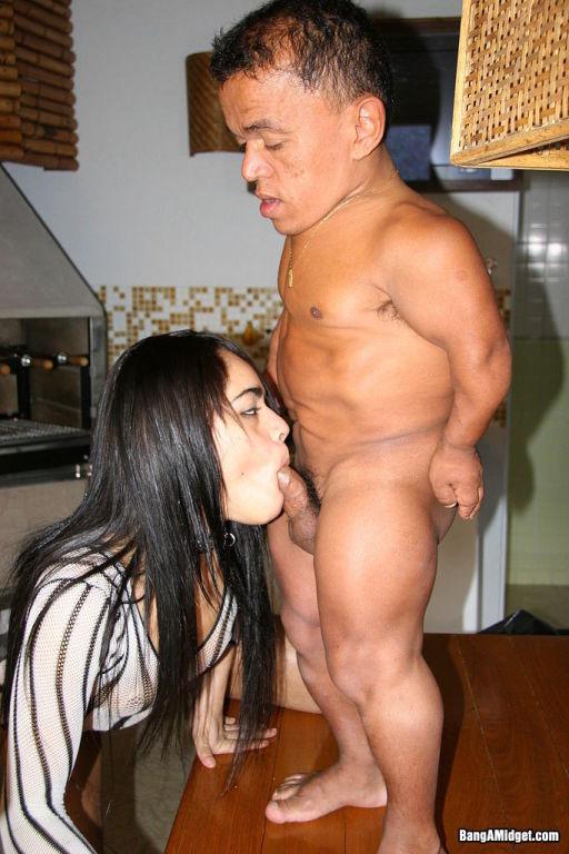 Busty midget fucking horny slut in her house