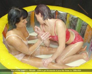 Bikini teens in erotic milk-wrestling session