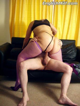Milf in stockings sucking and fucking her neighbou