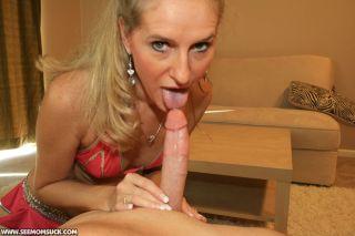 Wife Sara James give blowjob to Joey at see mom su