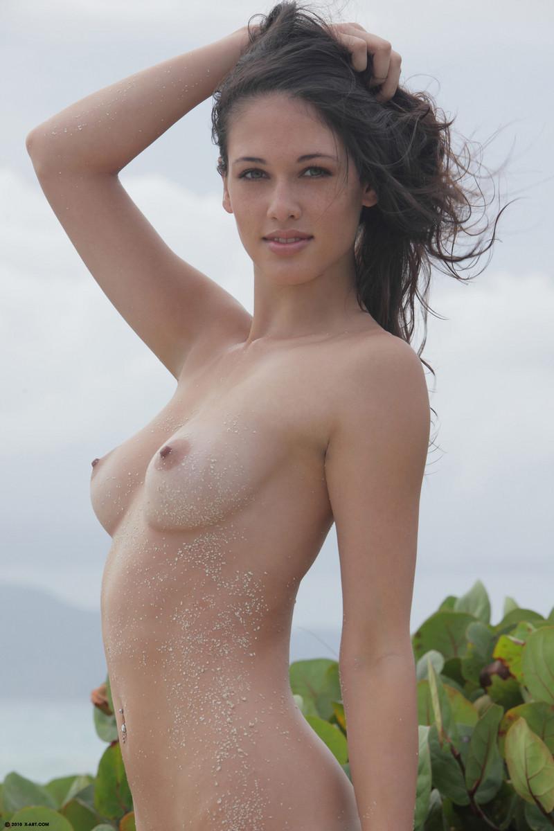 Naked model in music video