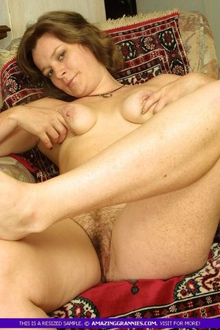 Russian Granny Teases Her Clitoris with Fingertips