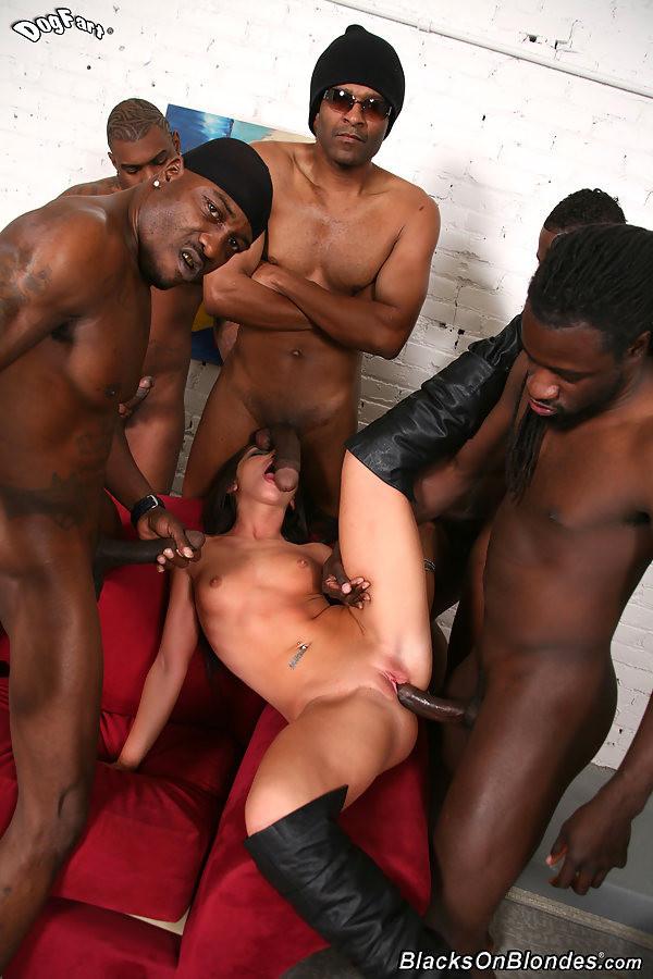 White girl black guy gangbang