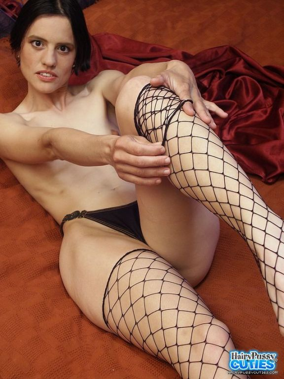 Skinny & Tall Teen Brunette Has an Unshaven Pu