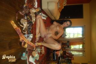 Sophia Santi getting naked with her high heels sur