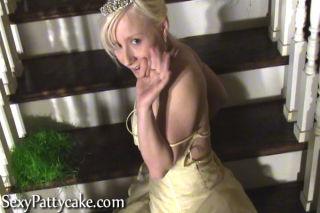 Big boob blonde teen Patty in prom dress
