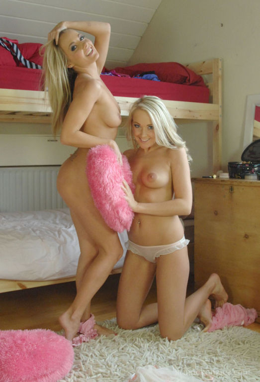 Blonde lesbo teen girls in dorm room