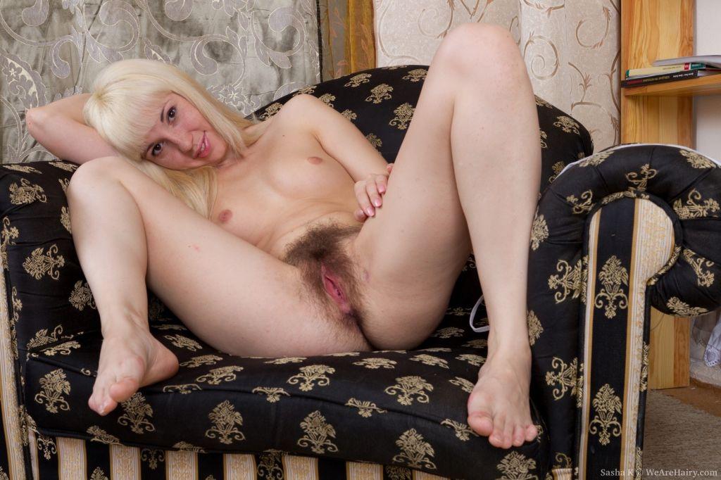 Hairy girl Sasha K lets you peek up her skirt
