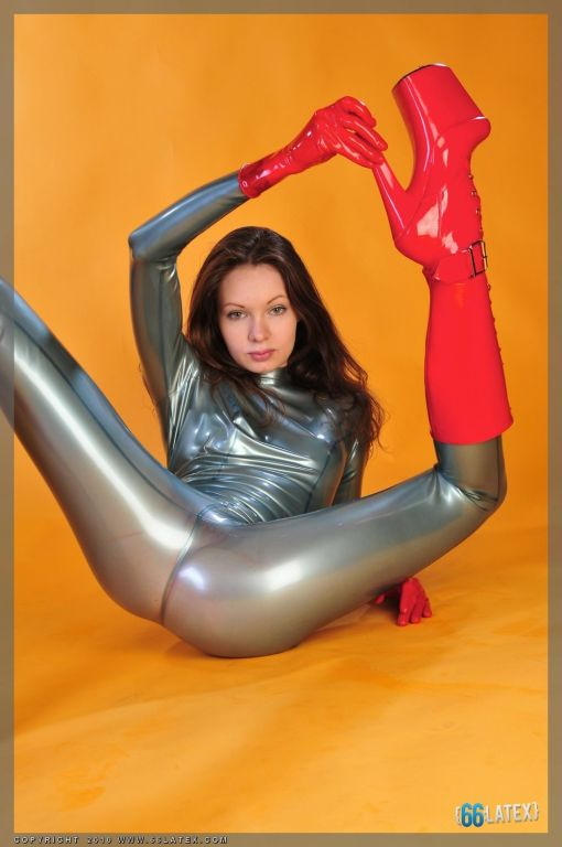 electric blue Latex Catsuit