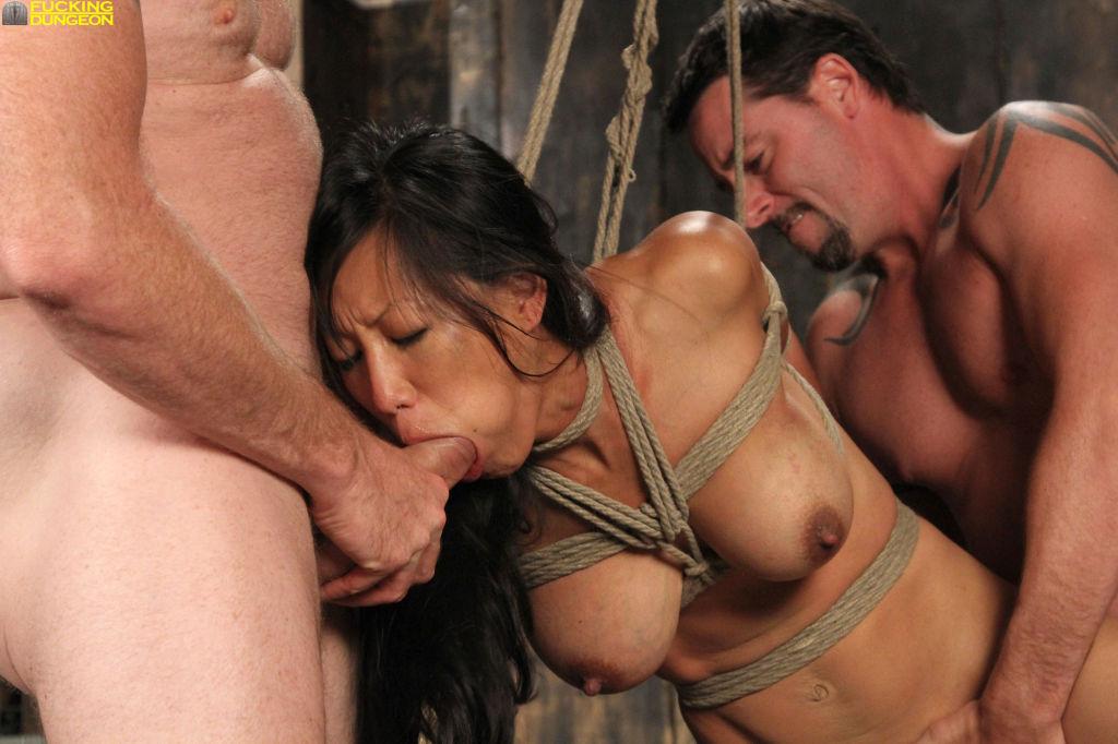 Big tit Asian slut double cocked in Bondage.
