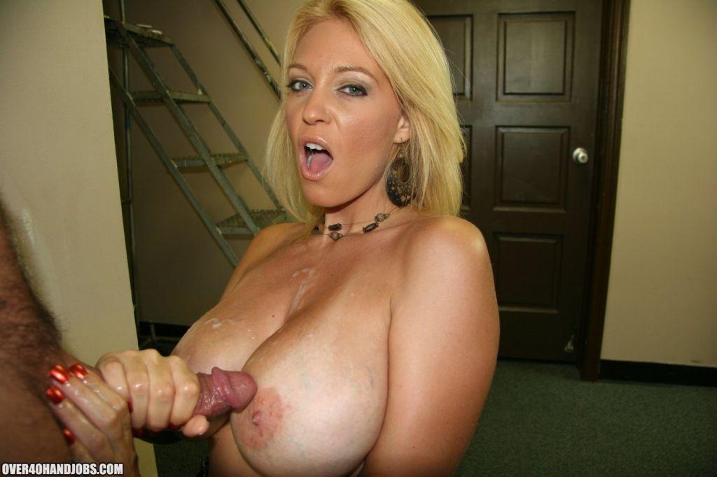 Sexy cougar milks massive dick