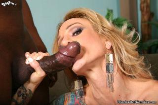 Inked blonde Sarah Jessie fucks a horny black Man