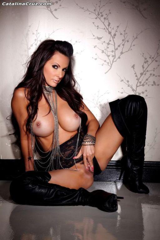 Catalina Cruz posing in thigh high hooker boots