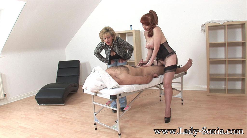 Kinky matures cum milking a cock with a handjob an