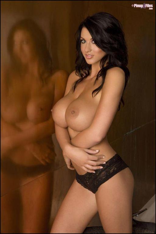 Brunette bombshell Alice Goodwin in sexy lingerie