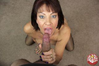 Busty cougar Vanessa Videl deepthroating a massive