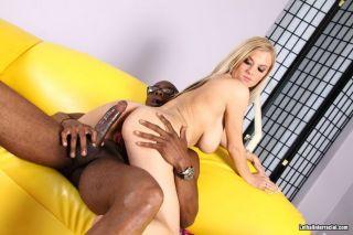 Blonde Haley Cummings sucks black cock in sex acts