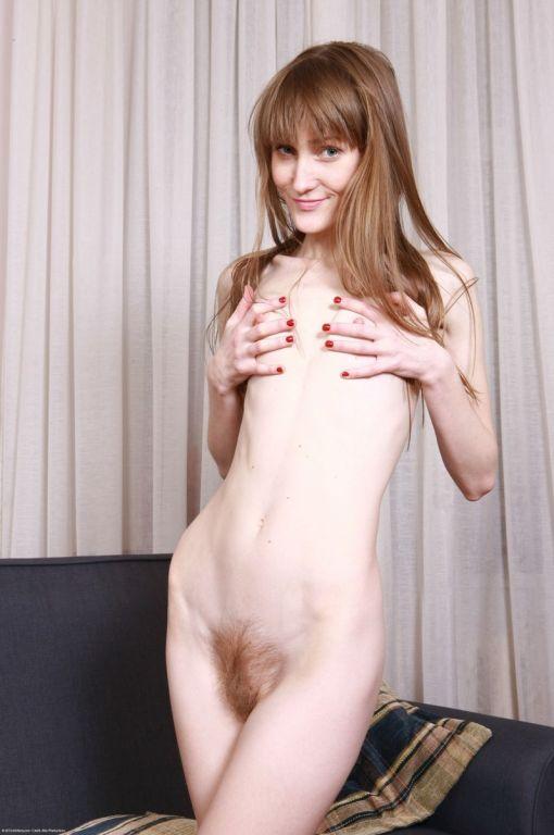 Nice hairy skinny redhead amateur spreading