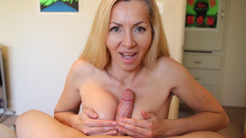 Hot milf Lisa Demarco stroking big cock
