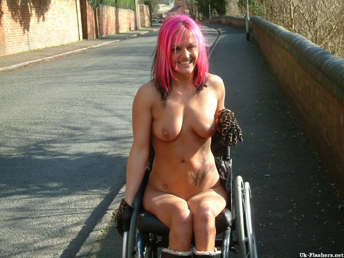 Handicapped public nudity of redhead voyeur babe Leah ...