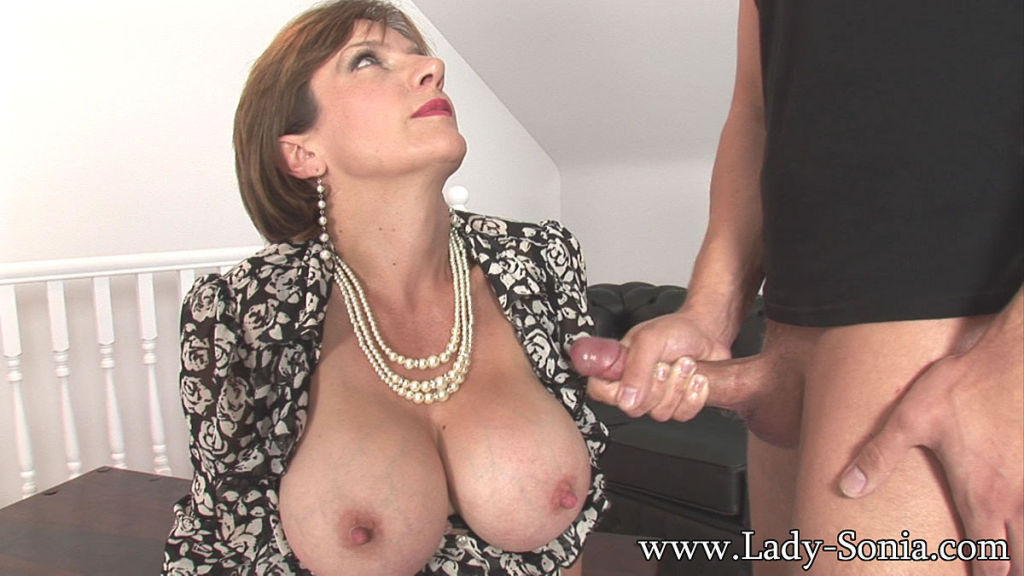 Lady Sonia Stroking Young Studs Hard Cock