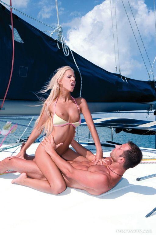 Young blonde Boroka Balls double fucked on boat