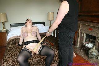 Amateur bbw Nimues breast bondage and tit spanking