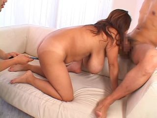 Busty asian Fuko in lingerie playing with two toys